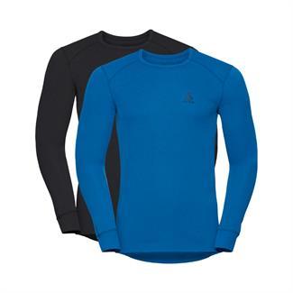 Odlo M's Shirt LS Crew Neck 2pack zwart/turqoise